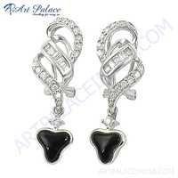 Feminine Unique Designer Black Coral & Cubic Zirconia Silver Earrings