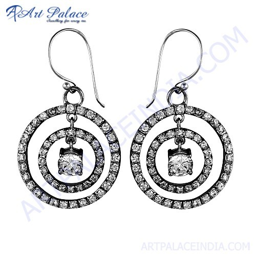 Spiral Design Cubic Zirconia Gemstone Silver Earrings