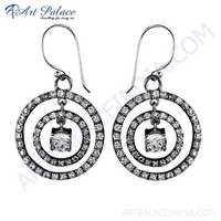 Spiral Design Cubic Zirconia Gemstone Silver Earrings
