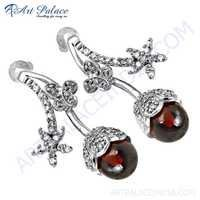 Ingenious Cubic Zirconia & Red Glass Gemstone Silver Earrings