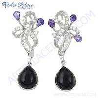 Antique Style Amethyst Zircon, Black Onyx & CZ Silver Earrings