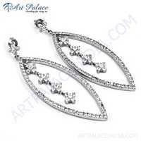 Celeb Style Cubic Zirconia Gemstone Silver Earrings