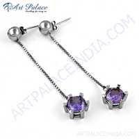Delicate Amethyst Zircon Gemstone Silver Earrings