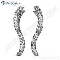 Beautiful Antique Style Cubic Zirconia Gemstone Silver Earrings