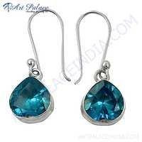 Charming Blue Cubic Zirconia Gemstone Silver Earrings