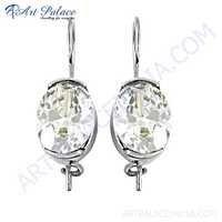 Sparkling Cubic Zirconia Gemstone Silver Earrings