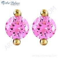 Lovely Pink Cubic Zirconia Gemstone Silver Stud Earrings