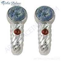 Trendy Garnet & Lapis Lazuli Gemnstone Silver Earrings