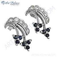 Truly Designer Cubic Zirconia & Ink Zirconia Silver Gemstone Earrings
