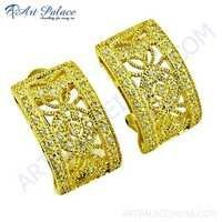 Lastest Luxury Cubic Zirconia Silver Gold Plated Earrings