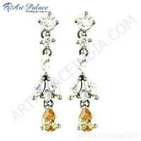 Ladies Designer Cubic Zirconia & Pitch Zirconia Silver Earrings