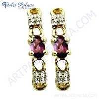 Attractive Cubic Zirconia & Garnet Gemstone Silver Earrings