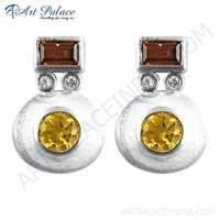 Stylish Citrine, Cubic Zirconia & Garnet Silver Earrings