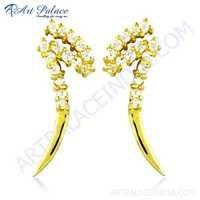 Unique Style Cz Gemstone Gold Plated Silver Earrings