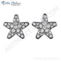Stylish Star Shape Cz Gemstone Gold Plated Silver Earrings