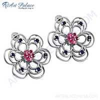 Beautiful Flower Style CZ Silver Earrings