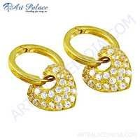 Heart Style Cz Gemstone Gold Plated Silver Earrings