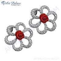 Cute Flower Cz & Synthetic Coral  Silver  Earrings