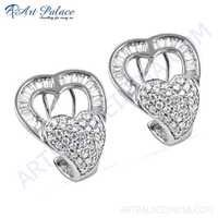 Unique Style Cubic Zirconia Gemstone Silver Earrings