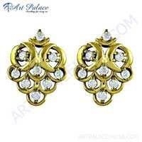 Fashion Accessories Cz Gemstone Gold Plated Silver Earrings