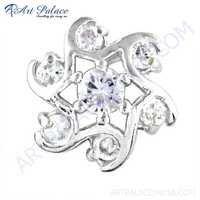 Sprial Designer Cubic Zirconia Gemstone Silver Earrings