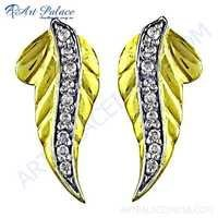 Leaf Design Cz Gemstone Gold Plated Silver Earrings
