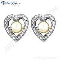 Rocking Heart Style Cubic Zirconia & Pearl Silver Earrings