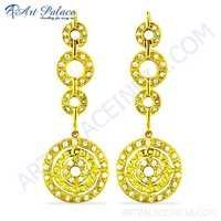 Designer Cz Gemstone Gold Plated Silver Earrings