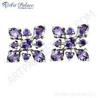 Graceful Amethyst Zircon Gemstone Silver Earrings