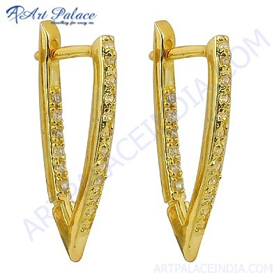 New Fashionable Cz Gemstone Gold Plated Silver Earrings