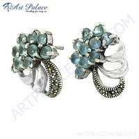 Lastest Luxury Blue Topaz Glass & Gun Metal Gemstone Silver Earrings