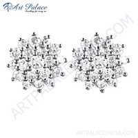 Famous Designer Cubic Zirconia Gemstone Silver Earrings