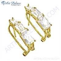 Fashionable Cz Gemstone Gold Plated Silver Earrings