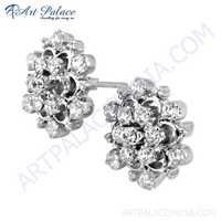 New Arrival Cubic Zirconia Gemstone Silver Earrings