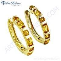 Famous Designer Citrine Gemstone Gold Plated Silver Earrings