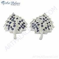Leaf Style Ink Zirconia Gemstone Silver New Earrings
