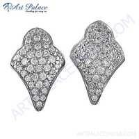 Glamour Cubic Zirconia Stud Silver Earrings