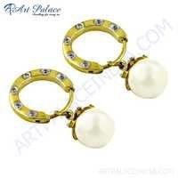 Hot! Dazzling Cz & Pearl Gemstone Gold Plated Silver Earrings