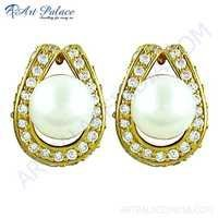 Celeb Style Cz & Pearl Gemstone Gold Plated Silver Earrings
