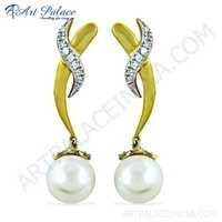 Newest Style Cz & Pearl Gemstone Gold Plated Silver Earrings