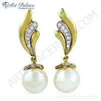 Feminine Unique Style Cz & Pearl Gold Plated Silver Earrings