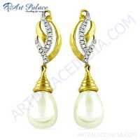 Party Wear Designer Cz & Pearl Gold Plated Silver Earrings