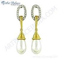 Trendy Charm Cz & Pearl Gold Plated Silver Earrings
