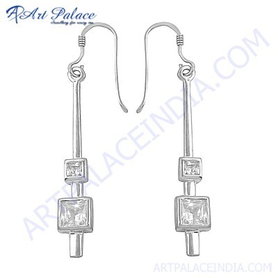 Fashion Accessories Cz Gemstone Silver Earrings