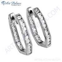 Girl's Fashionable Cz Gemstone Silver Earrings