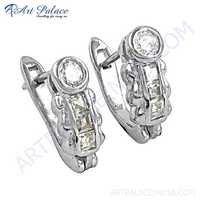 New Arrival Cz Gemstone Silver Earrings