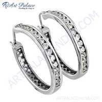 Elegant Fancy Cz Gemstone Silver Earrings