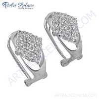 Beautiful Cz Gemstone Silver Earrings