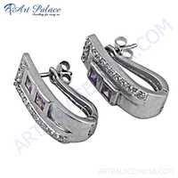Lovely Cz & Inkzirconia Gemstone Silver Earrings