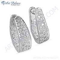 New Fashionable Cz Gemstone Silver Earrings